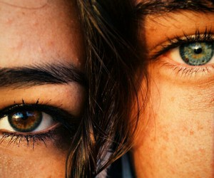 eyes, couple, and brown image