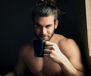 blue eyes, boy, and coffee image