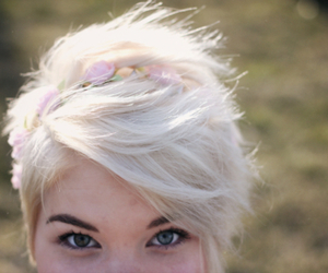 flowers, hair, and pixie cut image