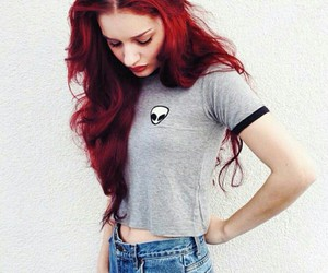 grunge, hair, and red image