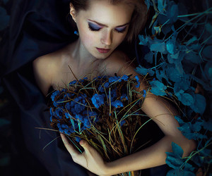 girl, flowers, and blue image