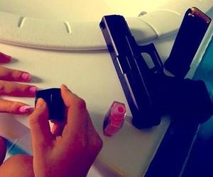 gun, nails, and pink image