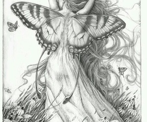 black&white, drawing, and butterfly image