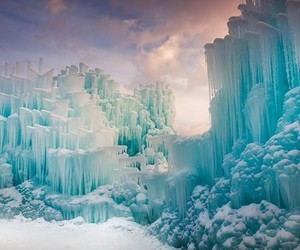 snow, castle, and ice image