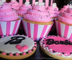 pink, barbie, and cupcake image