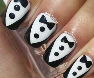 black and white, nail art, and nails image