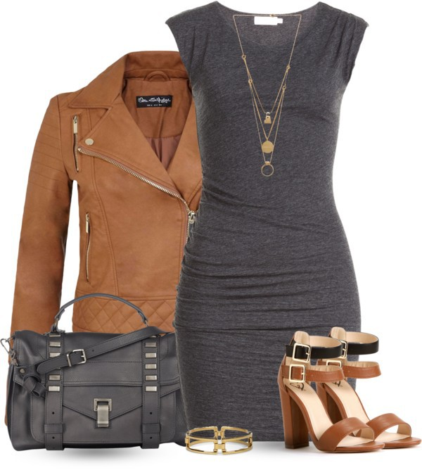 high heels, leather jacket, and bodycon dress image