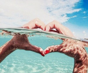 beach, heart, and OMG image