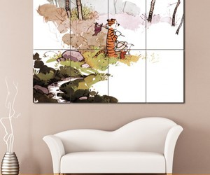 calvin and hobbes, cartoon, and home decor image