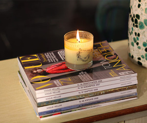candle and magazines image