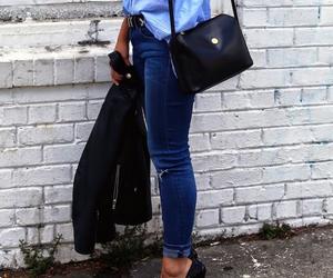bag, black, and denim image