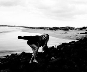 beach, black and white, and girl image