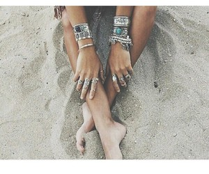 bracelets, summer, and beach image