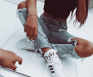 adidas, denim, and ripped jeans image