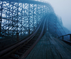 fog, Roller Coaster, and dark image