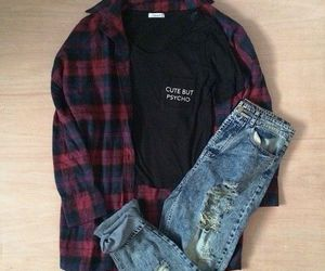 outfit, black, and jeans image