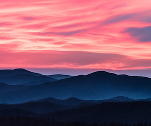 mountain, sunset, and view image