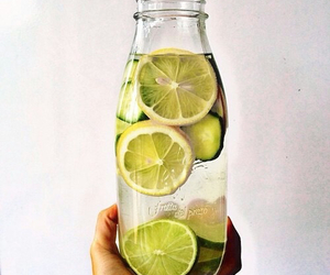 water, drink, and lemon image