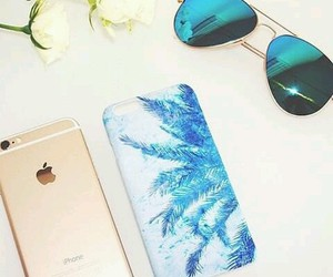 sunglasses, iphone, and palm trees image