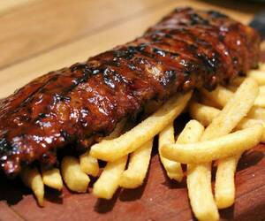 fries, ribs, and food image