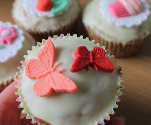 butterflies, cupcakes, and food image