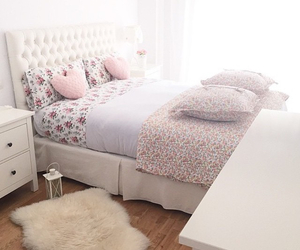 bed, pink, and sleeping room image