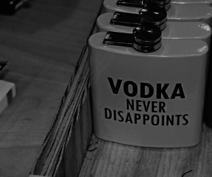 vodka, black and white, and never image