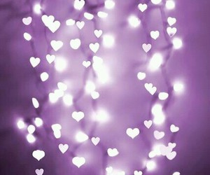 hearts, lights, and purple image