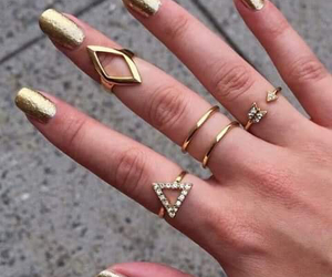 nails, gold, and rings image