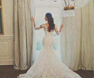 long, wedding dress, and white image