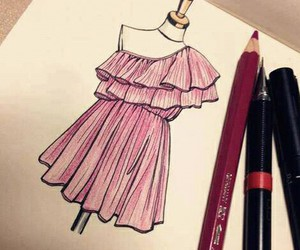 dress, pink, and drawing image