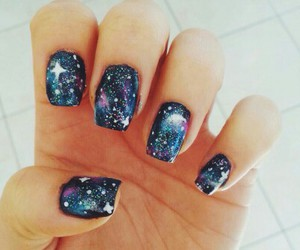 nails, art, and galaxy image