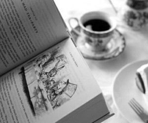 book, alice in wonderland, and tea image