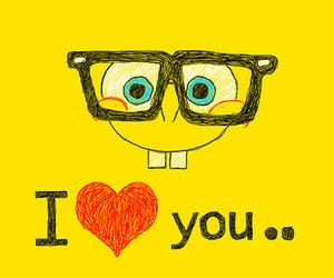 spongebob, I Love You, and yellow image