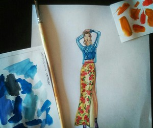water color, art, and fashion image