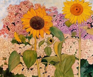 art, flowers, and sunflower image