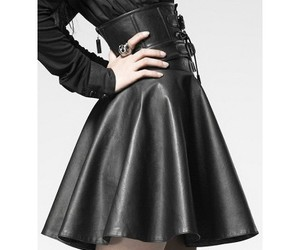 black leather, black skirt, and skirt image