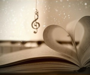 music, book, and love image