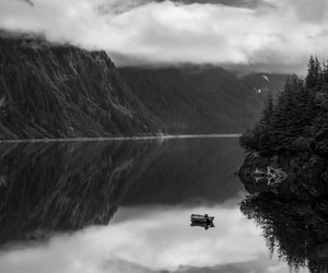 nature, black and white, and boat image