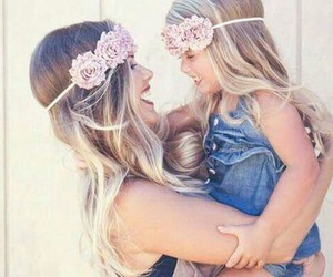 girl, mom, and love image
