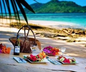 beach, picnic, and sea image