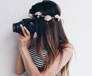 girl, flowers, and camera image