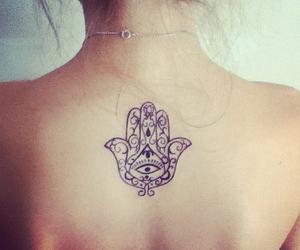 back, tattoo, and hamsa hand image