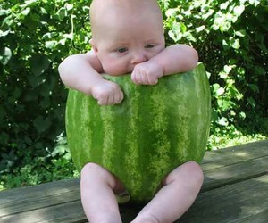 baby, cute, and watermelon image