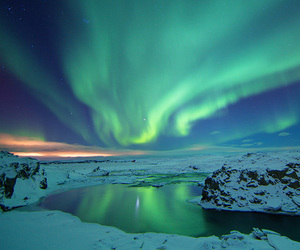iceland and aurora image