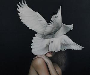 art, bird, and white image