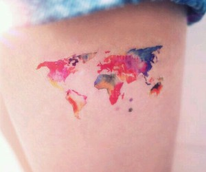 tattoo, world, and colors image