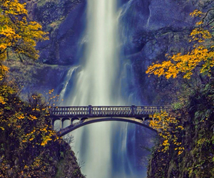 nature, waterfall, and bridge image