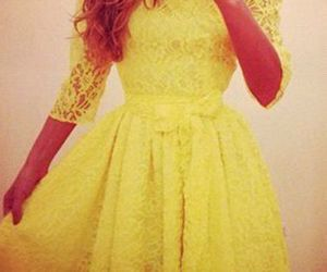 yellow lace skater dress image