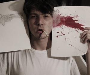 gun, boy, and blood image